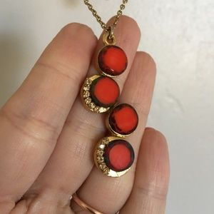 Anthropologie Orange and Gold Pendent Necklace